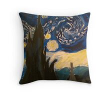Starry Night Hand Painted Throw Pillow