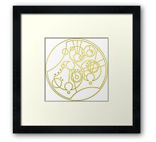 'Gallifrey Falls No More.' in Gallifreyan - Gold (transparent background) Framed Print
