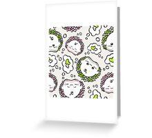 love hedgehogs seamless pattern kawaii style.  Greeting Card