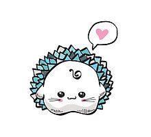 kawaii cute hedgehog on a white background by Lyusya