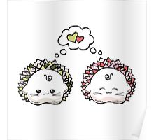 kawaii cute love hedgehog on a white background Poster