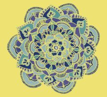 Royal Blue, Teal, Mint & Purple Mandala Flower Kids Clothes