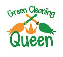 Green cleaning Queen! with feather dusters by jazzydevil