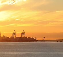 Transportation and Industry at Sunset by manandhisworld