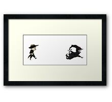 The man in black fled across the desert... Framed Print