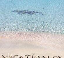 Vacation and checked mark written on sand on a beautiful beach, blue waves in background by Stanciuc