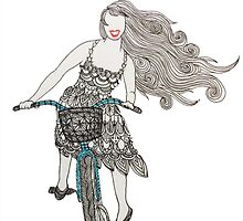 Zentangle Patterned Bike Ride by AmandaRuthArt