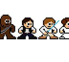 8-bit Chewie, Han, Luke & Leia by groundhog7s