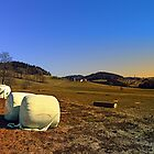Hay bales and panorama | landscape photography by Patrick Jobst