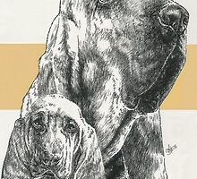 Bloodhound, Father & Son by BarbBarcikKeith