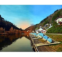 Pontoon landing stages in the harbour | waterscape photography Photographic Print