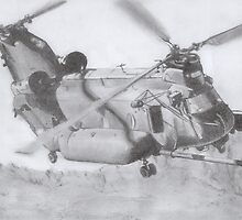 CH-47 Chinook pencil drawing by PurpleMoose