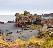 Icelandic beach with black lava rocks, Snaefellsnes peninsula, Iceland by Stanciuc