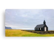 Historic black wooden church in Budir, Iceland Canvas Print