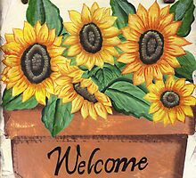 Sunflowers on Slate by Anne Gitto
