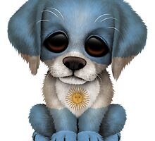 Cute Patriotic Argentinian Flag Puppy Dog by Jeff Bartels
