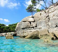 Cala Macarella bay with crystal clear azure water, Island of Menorca, Balearic Islands, Spain by Stanciuc