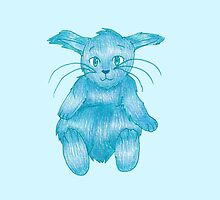 Blue Rabbit on his Back by ArtsyRosey