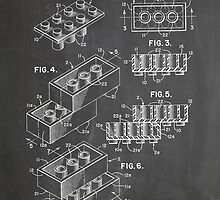 LEGO Construction Toy Blocks US Patent Art blackboard by Steve Chambers