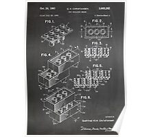 LEGO Construction Toy Blocks US Patent Art blackboard Poster