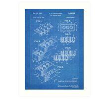 LEGO Construction Toy Blocks US Patent Art blueprint Art Print
