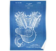 Harley Motorcycle Engine US Patent Art 1923 Harley-Davidson V-Twin Blueprint Poster