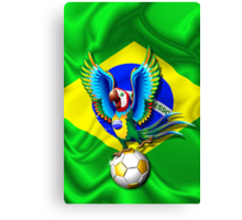 Brazil Macaw Parrot Cartoon with Soccer Ball Canvas Print
