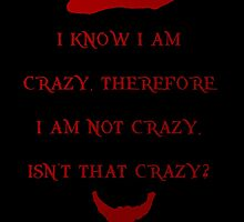 I know I am crazy, therefore I am not crazy by drewzi