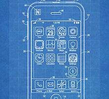 Apple iPhone US Patent Art Steve Jobs blueprint by geekuniverse