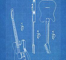 Fender Telecaster Guitar US Patent Art Blueprint by Steve Chambers