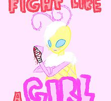 Fight Like A Girl (Monster/Moth Girl) by zekroraptor