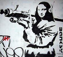 Mona Lisa with Rocket Launcher Banksy Graffiti by geekuniverse