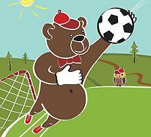 Cartoon  humorous illustration.Brown bear plays football by Tatiakost