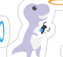 T-rex with portal gun Sticker