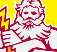 Zeus Greek God Arms Cross Thunderbolt Retro Sticker