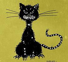 Green Grunge Evil Black Cat by Boriana Giormova
