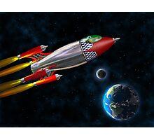 Retro rocket in space Photographic Print