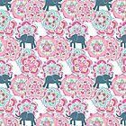 Tiny Elephants in Fields of Flowers by micklyn