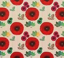 Poppy Flowers, Petals, Leaves - Red Green Brown by sitnica