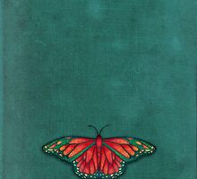 Butterfly in Jewel Colors on Teal Linen by Perrin Le Feuvre