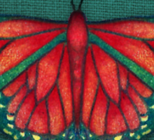 Butterfly in Jewel Colors on Teal Linen Sticker