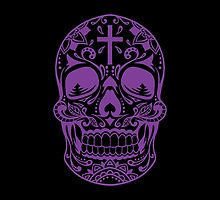 Sugar Skull, Day Of the Dead, Halloween Purple SugarSkull by Carolina Swagger