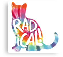 Radical Cat Tie Dye Canvas Print