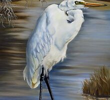 Great Egret At Sylvia's Pond by Phyllis Beiser