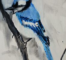 Blue Jay Wild Bird Acrylic On Canvas Board by JamesPeart