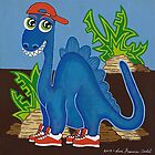 Blue Dinosaur by Lisa Frances Judd~QuirkyHappyArt