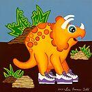 Yellow Dinosaur by Lisa Frances Judd~QuirkyHappyArt