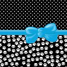 Ribbon, Bow, Dog Paws, Polka Dots - White Black Blue by sitnica