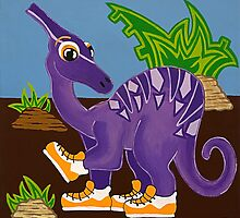 Purple Dinosaur by Lisa Frances Judd~QuirkyHappyArt