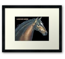 Beautiful horse head and text Framed Print